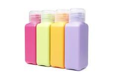 Färgrika plast-flaskor Fotografering för Bildbyråer