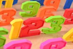 Färgrika plast-nummer 123 Fotografering för Bildbyråer
