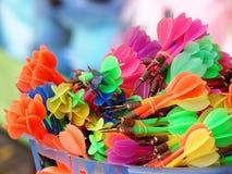 Färgrika plast-pilar Fotografering för Bildbyråer