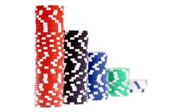 Färgrika pokerchiper som isoleras på vit Royaltyfri Foto