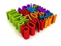 Färgrika procent form för kub för rabattförsäljningspris Arkivfoto