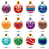 färgrika prydnadar för jul Arkivfoto