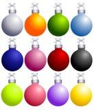 färgrika prydnadar för julsamling vektor illustrationer
