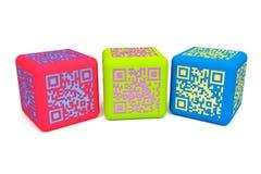 Färgrika QR-kuber 2 Fotografering för Bildbyråer