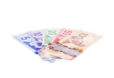 Färgrika räkningar för kanadensisk dollar i olik valör 1 Arkivbilder