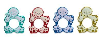 färgrika ramar föreställer snowmanen Royaltyfria Bilder