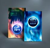 Färgrika reklambladmallar för nattklubb vektor royaltyfri illustrationer