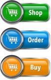Färgrika rengöringsdukbeståndsdelar för on-line shopping stock illustrationer
