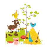 Färgrika roliga tecknad filmlantgårdtamdjur Arkivfoto