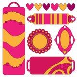 Färgrika rosa färger och orange etikettssamling med hjärtor och prickar Royaltyfri Fotografi