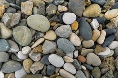 Färgrika rundastenar som finnas på stranden Fotografering för Bildbyråer