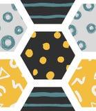 Färgrika sömlösa modeller med honungskakor stock illustrationer
