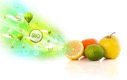 Färgrika saftiga frukter med grönt ecotecken och symboler Arkivbild