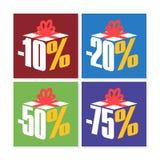 Färgrika Sale 10%, 20%, 50% och 75% Arkivfoton