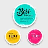 Färgrika samlingar för stil för slaglängd för borste för cirkel för etikettpapper royaltyfri illustrationer