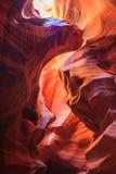Färgrika sandstenväggar av den near sidan Arizona för övre och lägre antilopkanjon Arkivfoton