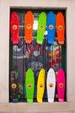 Färgrika skateboarder på försäljning royaltyfri fotografi