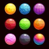 Färgrika skinande bubblor för rolig tecknad film stock illustrationer