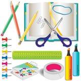 färgrika skolabrevpappertillförsel Royaltyfria Foton