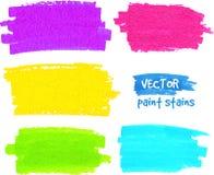 Färgrika slaglängder för regnbågemålarpenselvektor Arkivfoto