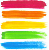 Färgrika slaglängder för vektorvattenfärgborste stock illustrationer
