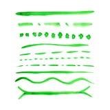 Färgrika slaglängder för vektorvattenfärgborste Arkivbild
