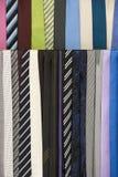 Färgrika slipsar som hänger, modetillbehör Royaltyfri Foto