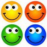 färgrika smileys stock illustrationer