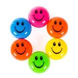 Färgrika smileys Arkivfoton