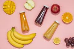 Färgrika smoothies i flaskor med nya frukter på rosa bakgrund Lekmanna- lägenhet, bästa sikt arkivbilder