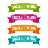 Färgrika sociala massmediaband Vektor Eps10 stock illustrationer