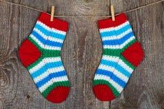 färgrika sockor Fotografering för Bildbyråer