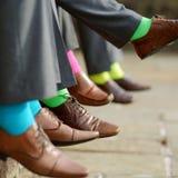 Färgrika sockor av groomsmen Fotografering för Bildbyråer
