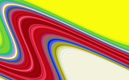 Färgrika sred blåa gula linjer, regnbåge vinkar linjer, abstrakt bakgrund för kontrast arkivfoto