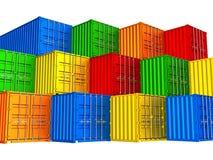 Färgrika staplade lastbehållare Arkivbild