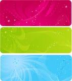färgrika stjärnor för abstrakt baner Royaltyfri Foto