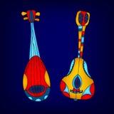 Färgrika stringed musikinstrument för tecknad film, vektor Royaltyfria Bilder