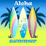 Färgrika surfingbrädor uppsättning, illustration Arkivbild