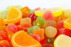 Färgrika sweetmeats och gelécloseup Arkivfoto