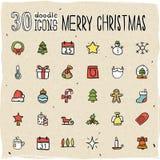 30 färgrika symboler för glad jul Fotografering för Bildbyråer