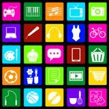 Färgrika symboler för hobby på svart bakgrund Arkivfoto