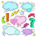 Färgrika symboler för komisk stil, uppsättning av funderarebubblan och hjärta Arkivbilder