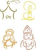 färgrika symboler för kristen jul Arkivfoton
