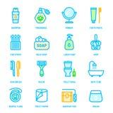 Färgrika symboler för personlig hygien royaltyfri illustrationer