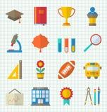 Färgrika symboler för skola Arkivbild