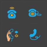 Färgrika symboler för telefon, vektorillustration Royaltyfria Bilder