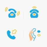 Färgrika symboler för telefon, vektorillustration Arkivbild