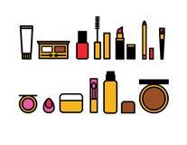 Färgrika symboler för vektorlägenhetstil av en makeup för kvinna` s royaltyfri illustrationer