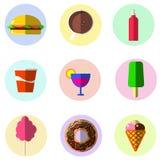 Färgrika symboler mat, hamburgare, glass, drinkar, donuts, Arkivfoto