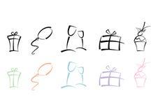 färgrika symboler party seten Royaltyfria Bilder
